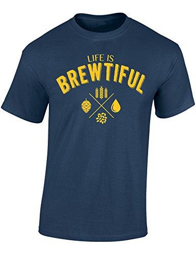 Bier T-Shirt : Life is Brewtiful - Geschenk für Bierliebhaber - Geschenke für Männer - Bier-Trinker - Craft-Beer - Oktoberfest - Brauer-Ei - Lustig - Fun - JGA - Saufen - Trinken, Denim Blau, XL
