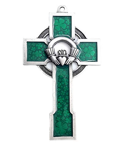 Irish Silver Toned Claddagh Celtic Wall Cross in Antique Pewter with Green Irish Shamrock Design Accents ( 5'H) -Includes St Patrick Holy Card