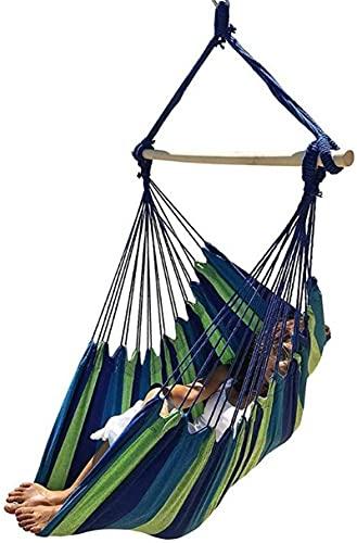 MCE Hamaca portátil de viaje, camping, hogar, dormitorio, columpio, silla perezosa, plegable, regalos de jardín para excursionistas (color a rayas azules)