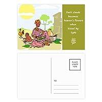 黒人女性のアフリカの原住民の子供のトーテム 詩のポストカードセットサンクスカード郵送側20個