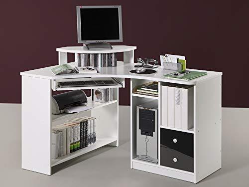 möbelando Eck-Schreibtisch Bürotisch Computertisch Winkelschreibtisch Büromöbel Marcel I Weiß/Schwarz