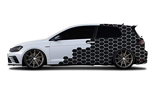 WRAP-SKIN Camouflage Cyber Pixel Aufkleber Auto Tuning Komplettset 2 x WS-01-00-10005 070M Schwarz Matt