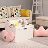 FiveShops Wooden Toy Chest,Large Storage Box Lift Top Entryway Storage Chest/Bench Wooden Toy Box Kids' Storage Chests & Trunks