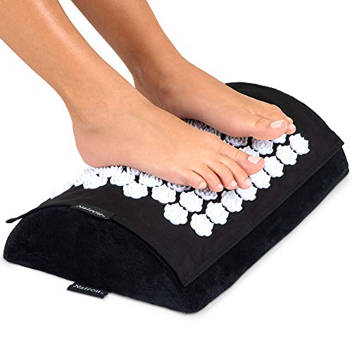 Under desk Footrest with acupressure foot massage mat.Giftable ergonomic foot rest.Use at home, office, gaming, travel, work. Enjoy the foot stool that rocks with accupressure relief on feet and back.