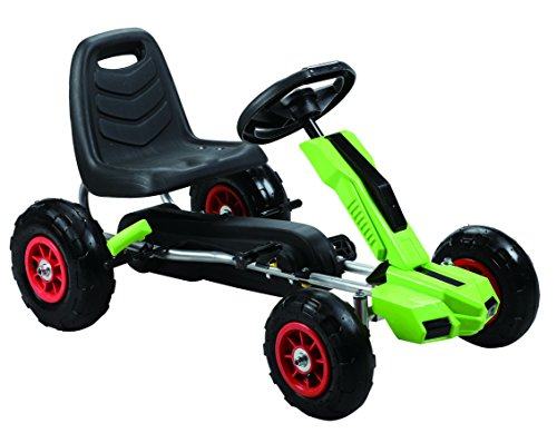 Vroom Rider Power Pedal Go-Kart Ride Ons with Pneumatic Tire, Green