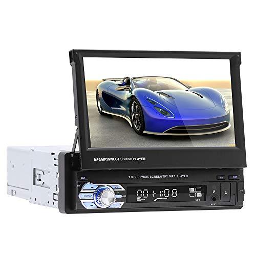 Andifany 9601 Solo 1Din 7 Pulgadas Estéreo,Pantalla de Prensa TFT/LCD 1080P Radio FM de Coche con USB/, Reproductor Mp4/Mp5 de Soporte Cámara Trasera para Radio de Coche Retráctil
