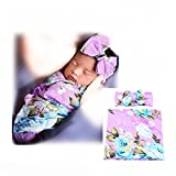 Newborn Baby Sleep Receiving Blanket and Bow Headband Set Baby Swaddle Blanket Galabloomer (Purple)
