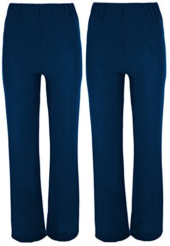 MISSY Ladies Stretch Trousers Pack of 2 Bootleg Stretch Ribbed Trousers Black Size 8 26 12 Navy Regular 30