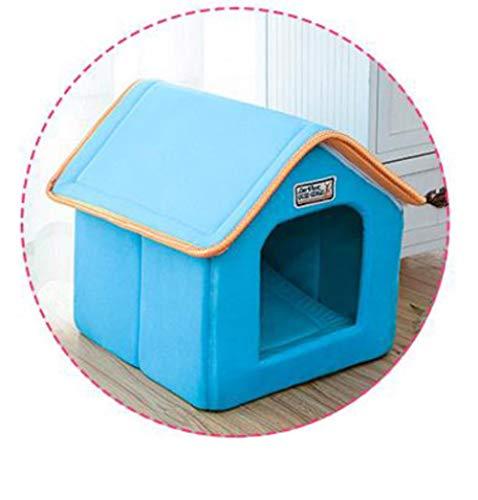 uoLingYan huisdier huis opvouwbaar bed met mat zachte winter luipaard hond puppy bank kussen huis Kennel Nest hond kat bed voor kleine middelgrote honden, 61cmx47cmx45cm, Blauw