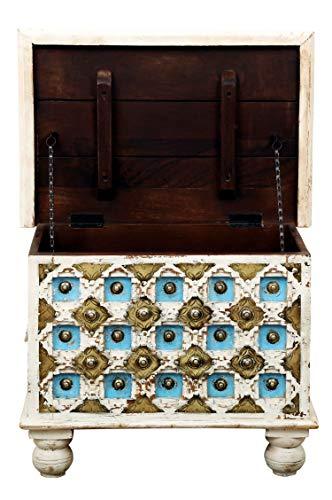 Orientalische Truhe Kiste aus Holz Anik Weiss 60cm | Vintage Sitzbank mit Aufbewahrung für den Flur | Aufbewahrungsbox mit Deckel im Bad | Betttruhe als Kissenbox oder Deko im Schlafzimmer - 3