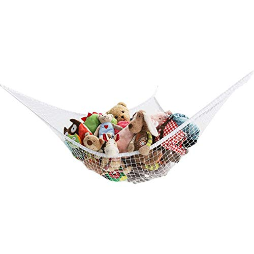 HLSUSAN Toy Hammock Large Soft Mesh Net Nursery Furniture Products with 3 Sticky Hooks for Keeping The Children's Room Clean and Tidy,White,180 * 120 * 120