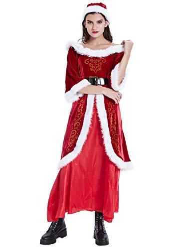 ShiyiUP Retro Kleid Weihnachten Damen Schulterfrei Abendkleid Kostüm Party