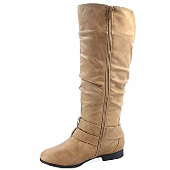 Top Moda Coco-20 Women s Fashion Round Toe Low Heel Knee High Zipper Riding Boot Shoes  8 Taupe