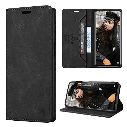 GANKER Handyhülle für Xiaomi Redmi Note 9 Pro Hülle, Redmi Note 9S Hülle Premium Leder [RFID Schutz] Flip Hülle Magnetisch Klapphülle Lederhülle Schutzhülle für Redmi Note 9 Pro/9S Hülle - Schwarz