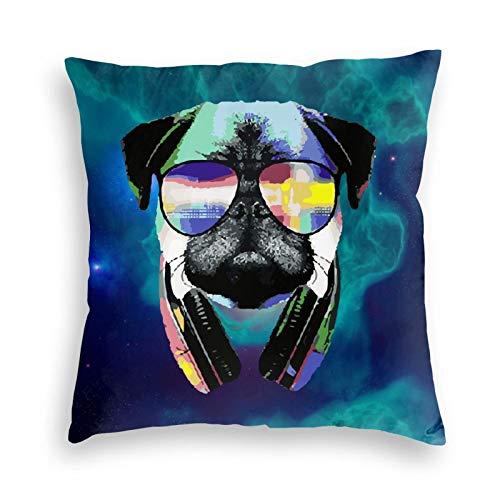 Dj Pug With Sun Glasses Bed Pillow Sofa Pillowcases 3D Printing Pillow Covers Car Cushions (16'x16'',Black)