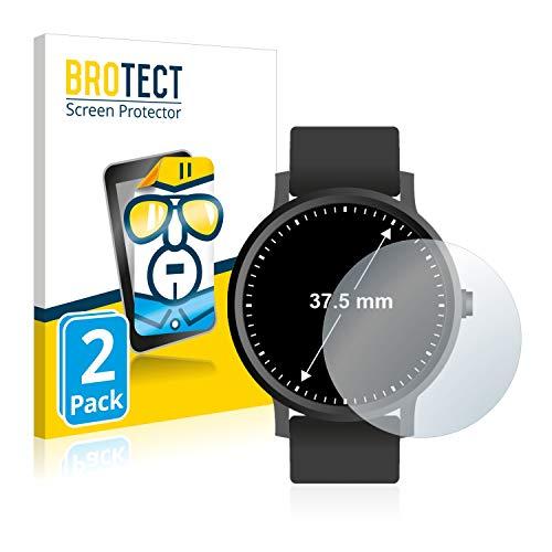 BROTECT Schutzfolie kompatibel mit Armbanduhren (Kreisrund, Durchmesser: 37.5 mm) (2 Stück) klare Displayschutz-Folie