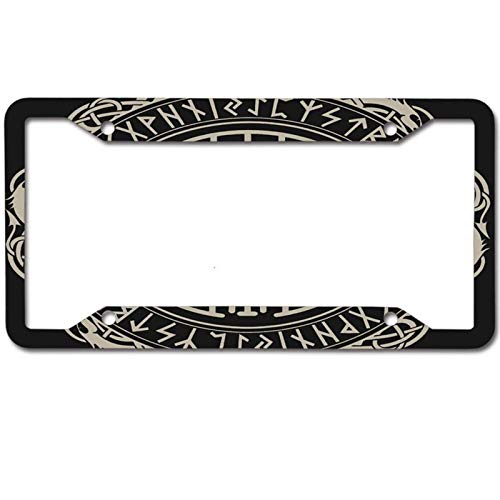 Mrsangelalouise Black Celtic Viking Design Magical Compass License Plate Frame Car tag Aluminum Car Licence Plate Cover for US Standard 4 Holes Screws