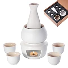 Made of ceramic, does not fade, non-toxic, free of heavy metals, safe and healthy, very easy to clean, perfect for home and holiday use Antiskid surface : the sake warmer set has a unique pottery surface which is anti-skid, allow you hold comfortable...