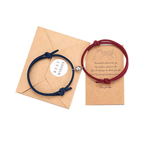 His and Hers Bracelets, Magnetic Mutual Attraction Matching Distance Bracelets for Couples Women Men Boyfriend Girlfriend Bf Gf Bestfriend