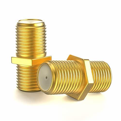 F-Verbinder Sat Kupplung Verbinder Vergoldet F-Stecker Kupplung/Sat Kabel Adapter Verlängerung für SAT Antennenkabel/Koaxialkabel/BK Anlagen 2 Stück