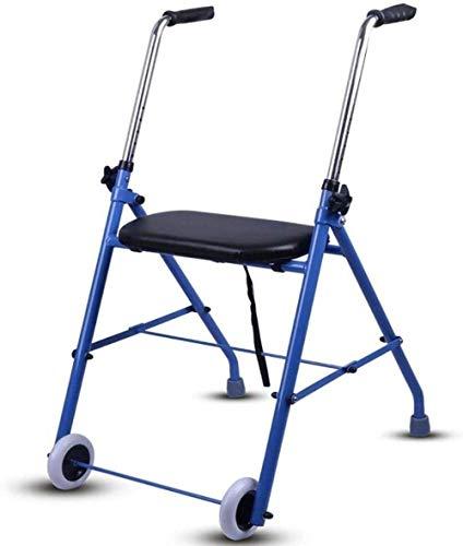 Andador para Ancianos Armadura Rueda Walker con apoyabrazos - Dos Ruedas Walker con Asiento - Rehabilitación Auxiliar Andador Andadores para discapacidad