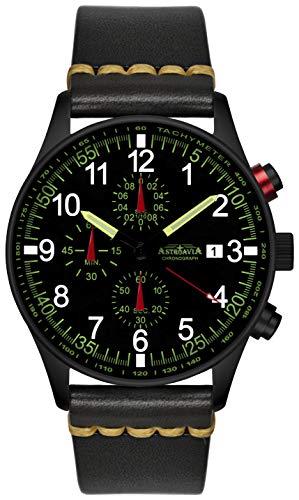 Astroavia N37 Black L8 - Orologio cronografo da uomo al quarzo con cinturino in pelle, colore: nero