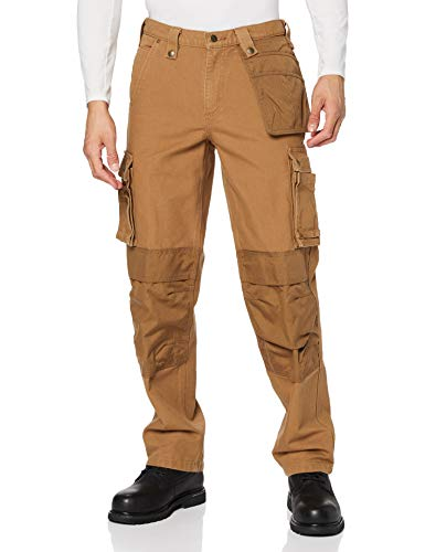 Carhartt Mens Multi Pocket Washed Duck Work Utility Pants, Brown, W32/L32
