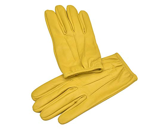 Ergonomic Cut leather driving gloves (Large, Yellow)