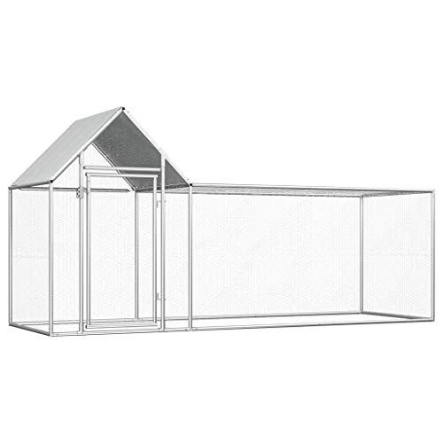Tidyard vidaXL Hühnerstall Gefügelstall Außenvoliere Metallgewebe Hühnerstall 3×1×1,5 m Verzinkter Stahl Mit einem wasserfesten Dach