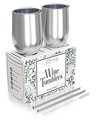 llumé Stainless Steel Wine Tumblers with Lid, Straw, Cleaner