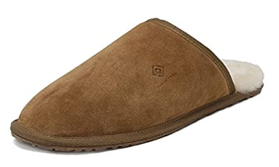 DREAM PAIRS Men's Avalon Tan Suede Leather Sheepskin Fur Slippers Size 10 M US