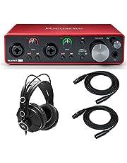 واجهة صوت USB 2×2 من فوكورايت سكارليت 2i2 الجيل الثالث مع سماعات رأس وكابلات XLR (4 عناصر)