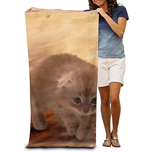 utong Toallas de Playa 100% algodón 80x130cm Toalla de Secado rápido para Nadadores Cat Furry Beach Blanket