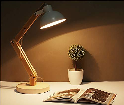Led-leeslamp in klassiek houten design, bureaulamp, tafellamp verstelbare lamp met verstelbare arm, oogvriendelijke leeslamp, werklamp, bureaulamp, bedlampje