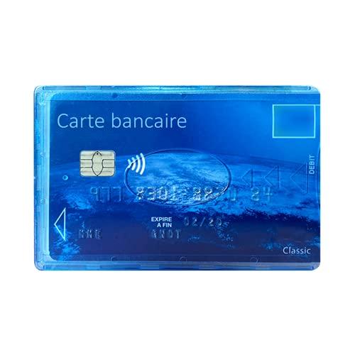 Color pop® Etui Rigide blindé 1 Carte bancaire Anti-piratage (Anti-RFID)- Fabrication française - Protection des données bancaires - 6 x 9 cm (Bleu)