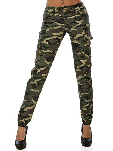 Daleus Damen High-Waist Skinny Jeans Cargo Hose Stretch DA 16038 Farbe Camouflage Größe S / 36
