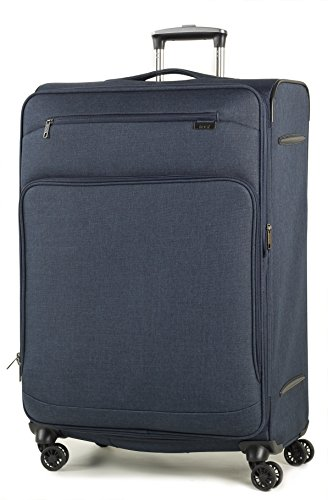Rock Madison Set of 3 Lightweight Expandable Four Wheel Spinner Suitcases Navy