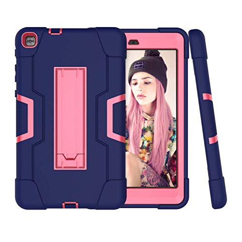 Cherrry Case for LG f2 8.0 LK460/LG GPad X II 8.0 Plus, Hybrid Three Layer Heavy Duty Shockproof Rugged Full Body Protective Cover with Kickstand for LG f2 8.0 LK460/LG GPad X II 8.0 Plus(Navy/Pink)