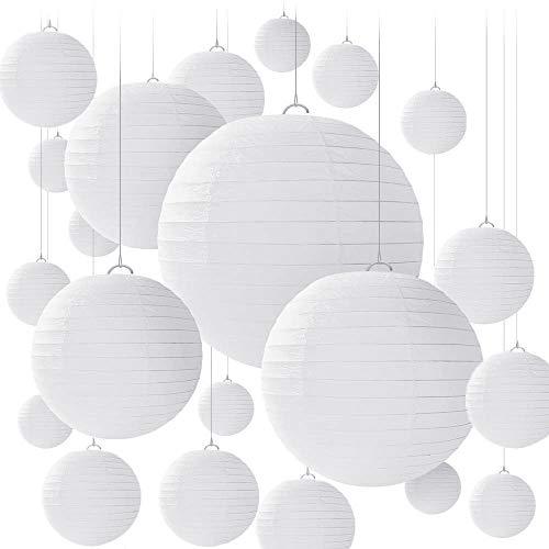 BENECREAT 28PCS 4 Tailles de lanternes en Papier Blanc, lampion Papier Boule Abat-Jour en Papier Rond pour Anniversaire, Mariage, fête, Baby Shower, décorations