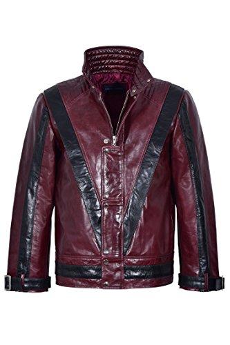 Neue Herren-Thriller Rot Schwarz Michael Jackson Style Music Echte Lederjacke (XS)