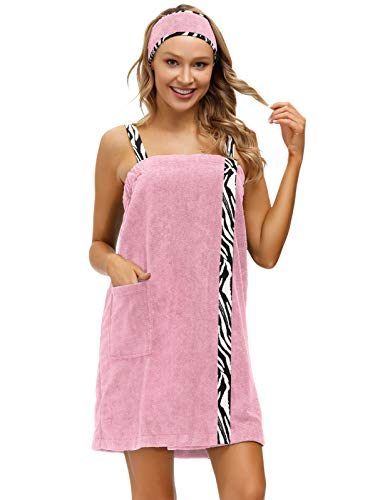Women's Spa Shower Body Wrap Set with Zebra Straps Swimwear Cover Up Pink M