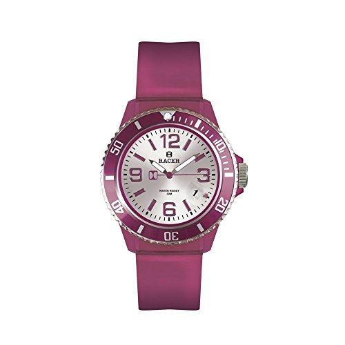Racer Reloj Analógico para Unisex Adultos de Cuarzo Correa Transparente Color Violeta CH31