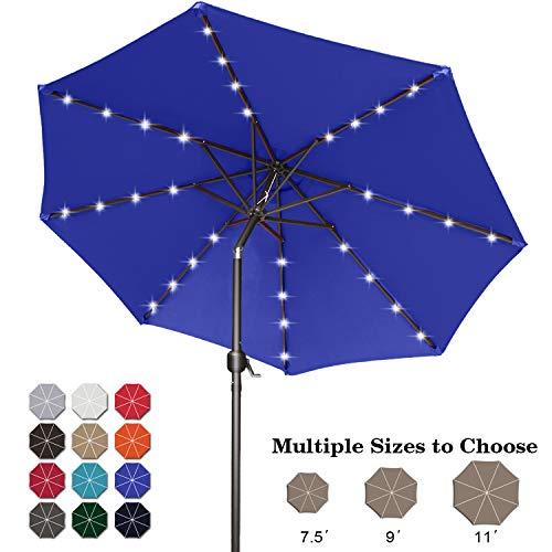 ABCCANOPY 275cm Gartenschirm Sonnenschirm neigbar mit 32 Solar-LED-Lichtern,für Garten,Deck,Schwimmbad,Sandstrand,Bräunen