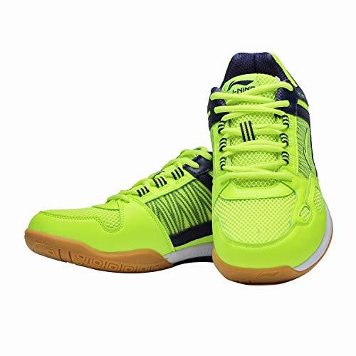 Li-Ning Pro Players Non-Marking Badminton Court Shoes, Lime/Navy - 3 UK