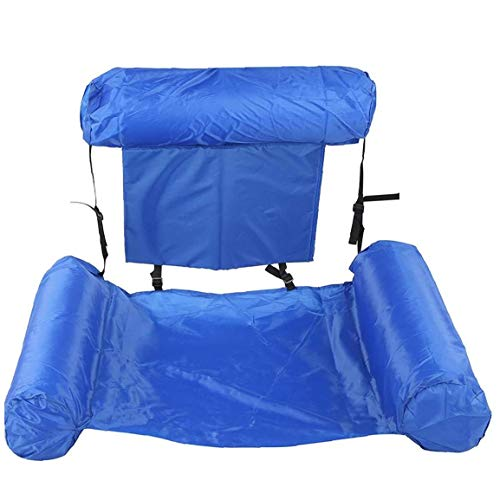 Swimming Pool Beach Bed Recliner Portable Folding Inflatable Swimming Ring Air Mattress Water Lounger Chair for Adults Children Blue