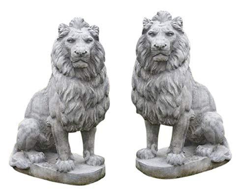 Riesige Löwen nach links und rechts blickend - Paar - Steinfigur Steinguss + inkl. original Pflegeanleitung von Steinfiguren Welt