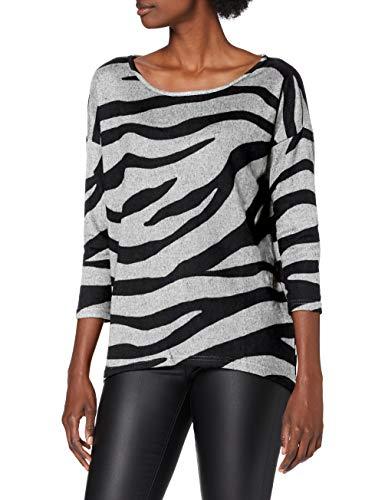Only ONLELCOS 4/5 AOP Top JRS Noos Camiseta sin Mangas, Color Gris Claro/Cuerpo: Estampado de Cebra, XL para Mujer