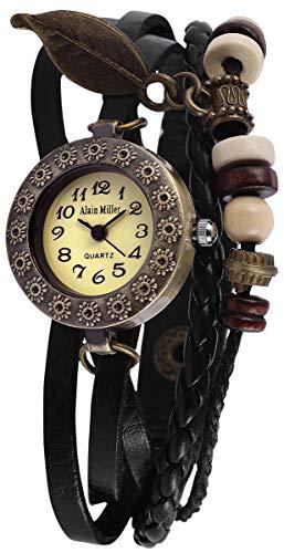 Alain Miller Damen Analog Quarz Uhr mit Leder Armband 1900134-002