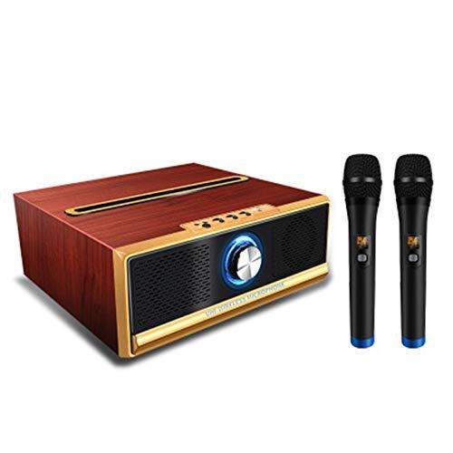 2 sistemas de micrófono inalámbrico, aire Inicio Ktv estéreo en forma de U Micrófono Loud 20W Altavoz Bluetooth dual, compatible con IOS Android PC y otros dispositivos inteligentes ( Color : Brown )
