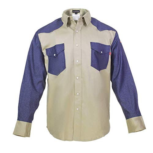 Flame Resistant FR Shirt  88/12  Western Style  Two Tone 2XLarge Khaki/Denim